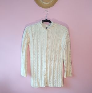 lands end white button up sweater